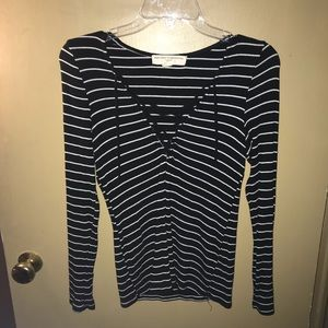 Black&white striped long sleeve lace up crop top